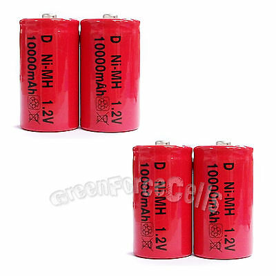 4 Pcs D Size R20 1.2V 10000mAh Ni-MH rechargeable Battery Cell Red