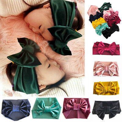 Soft Velvet Hairband Baby Kids Toddler Bow Headband Turban Big Knot Head-Wrap