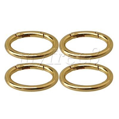 4x Golden Oval Carabiner Spring Loaded Gate Clips Hook Key Ring Buckle 48x30mm