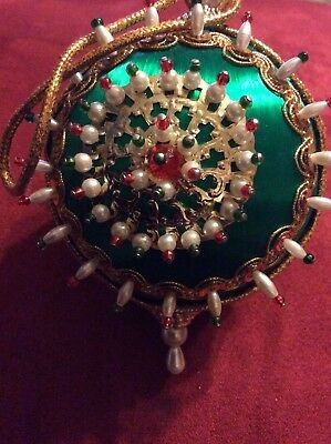 "Vintage Mid-Century Victorian Hand-Beaded Ornament Christmas Boho 4"" Green"