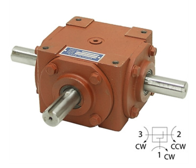 Gearbox 1:1 Ratio Right Angle 40 HP, 1800 Max Rpm with 3 Keyed Shafts, 120250