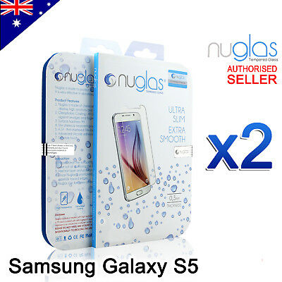 2x Samsung Galaxy S5 GENUINE NUGLAS Premium Tempered Glass Screen Protector