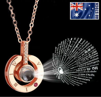 100 I Love You Necklace Rose Gold GP Roman Numerals Pendant Memory of Love Gift