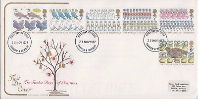 1977 FDC Christmas The Twelve Days of Christmas Cotswold Cover