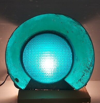 "Vintage Eagle Cast Iron Traffic Signal Light Cover Green ""stop Go"" Lens"