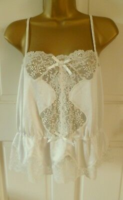Vintage Beautiful Made In U.k Cream Silky Nylon + Lace Camisole Top Size 12-14