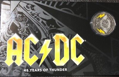 Australia 2018 50 Cents Ac/dc 45 Years Of Thunder Coloured Unc Coin