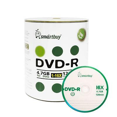 Smart Buy 100 Pack DVD-R 4.7gb 16x Logo Blank Data Video Movie Recordable...