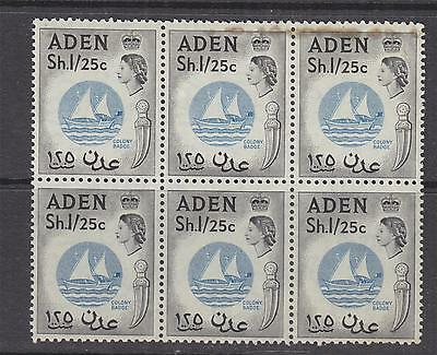 ADEN, 1956 QE, 1s.25 Blue & Black, block of 6, mnh./lhm., stains at top of 2