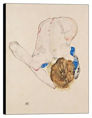 Quadro Stampa su pannello in legno mdf Schiele - Nude with Blue Stockings