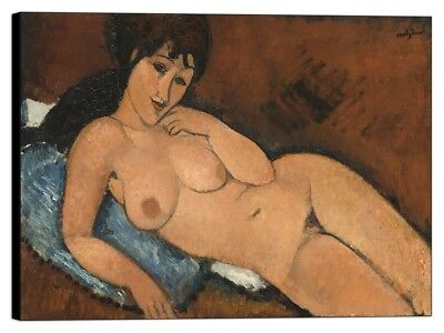 Quadro Stampa su pannello in legno mdf Modigliani - Nude on a Blue Cushion