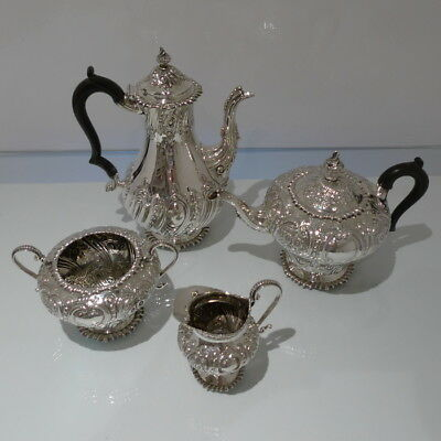 19th Century Antique Victorian Four Piece Sterling Silver Tea & Coffee Set Londo