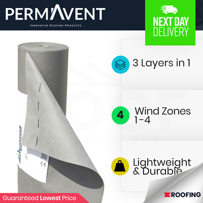 Permavent Eco | Breather Membrane | Breathable Roofing Felt | Underlay 1m x 50m