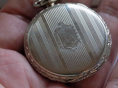 Mens Vintage Crown Wind Pocket Watch Illinois Sterling 14K White Gold Filled W/o