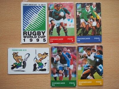 6 South Africa mint phonecards - rugby World Cup 1995 - sealed