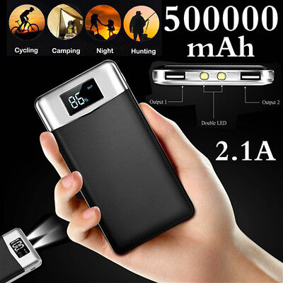 Fast Charging 2 LED power bank 500000mAh LCD External Battery Pack 2 USB Charger