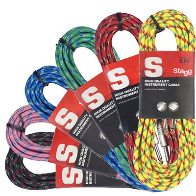 Stagg Vintage Tweed 6m Instrument Guitar Cable 6.35mm Jack to Jack Cable 6 Metre
