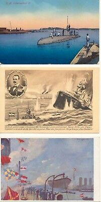 3 postcards submarine U5 sunk French cruiser Austro-Hungarian Navy KUK WW1