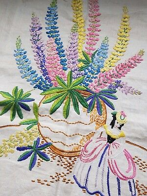 Lovely Vintage Hand Embroidered Picture/Panel with Crinoline Lady