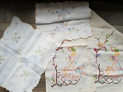 Lovely Vintage Hand Embroidered Runner and Tray cloths with Crinoline Ladies