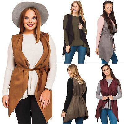 Womens Jacket Ladies Coat Suedette flattering waterfall front Belted Sleeveless