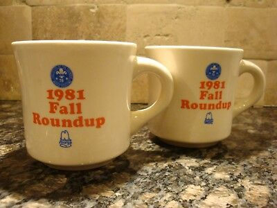 Vintage - Boy Scouts BSA**1981 Fall Roundup mug x 2**Excellent Condition**