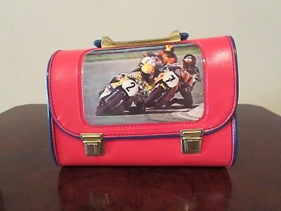 **GREAT** Rare Vintage MOTORCYCLE RACING Lunch Box from Italy