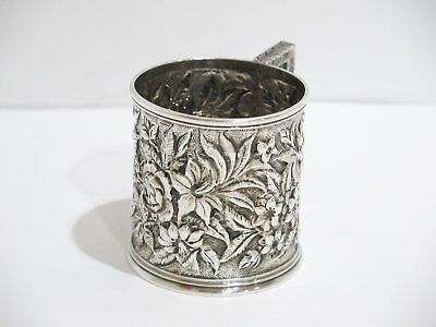 2 7/8 in Sterling Silver S. Kirk & Son Antique c. 1892 Floral Repousse Baby Cup