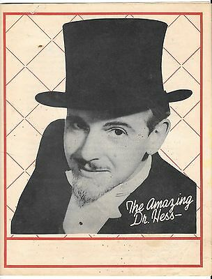 """Vintage 1945 """"The Amazing Dr. Hess"""" Magic Shows, Stage, Screen, TV Personality"""