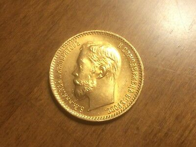 1902 Russian 5 Roubles Gold Coin @@ Must see @@ lot I