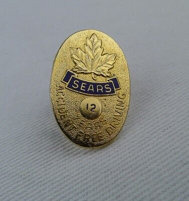 Sears Canada Service Pin 12 Years Accident Free Driving Gold Tone Vintage