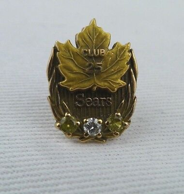 Sears Canada Club 25 Service Pin 10 K Gold Maple Leaf Three Gemstones Vintage