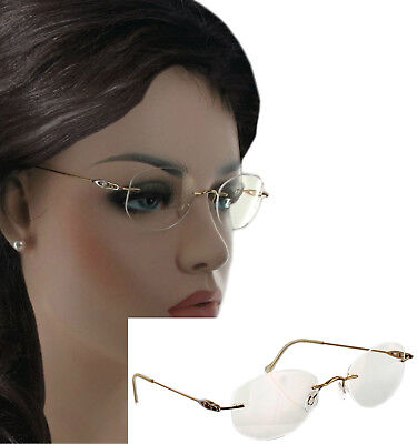 Silhouette Vintage Rimless Eye Glasses 18K Gold Pearl Accent M6879