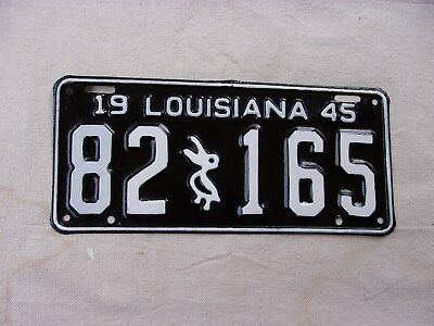 Louisiana 1945 License Plate--Restored