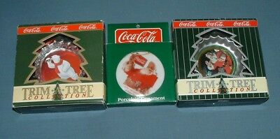 Coca Cola: Lot Of (3) Ornaments - 1990's - Mib