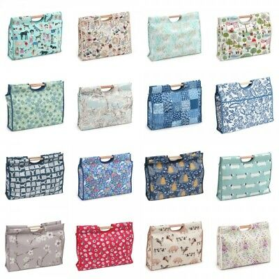 Wooden Handled Knitting Bag Sewing Storage Crochet Craft Gifts Various Designs