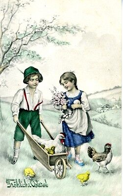 Easter Postcard: Lovely Young German Children At Easter Time