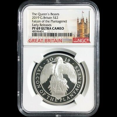 Queen's Beasts 2019 The Falcon Of The Plantagenets 1oz Silver Coin NGC PF69UC ER