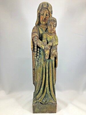 """Antique Hand Carved Wooden Santos Figure Mexican Madonna and Child Folk Art 12"""""""