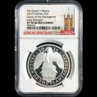 UK Queen Beasts 2019 Great Britain The Falcon 1oz Silver Proof Coin NGC PF 70 UC