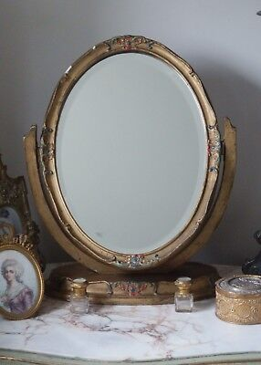Beautiful Antique Vintage French Gilt Gold Free Standing Dressing Table Mirror