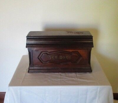 Antique 1884 NEW HOME Treadle Sewing Machine COFFIN TOP   EUC 134 yrs old
