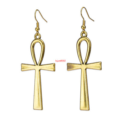 gold - Ankh Earrings - Large Statement Art Deco Jewellery-Ancient Egyptian