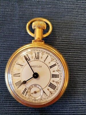 Westclock Goldplated Pocket Watch Railroad Train On Back
