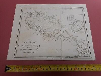 100% Original Island Of St Christopher Kitts Map By Stockdale C1794 West Indies