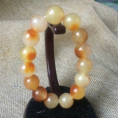 12mm NATURE red Yellow JADE BRACELET GREEN HAND CATENARY 1Vmh