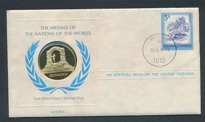 Austria: 1976 United Nations Proof Silver Medal PNC, Official  Issue