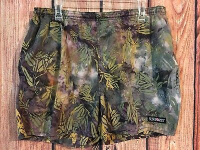 Vtg 70s 80s Sun Sport Swim Trunks Surf Board Shorts Floral Sz L Lined USA Made