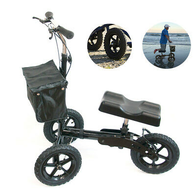 Foldable Medical Steerable Knee Walker Aid Scooter Crutches Roller All Terrain