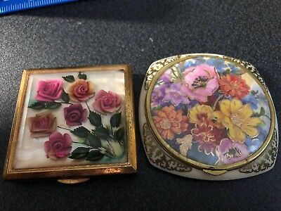 VINTAGE MELISSA Ladies COMPACT - BEVELLED GLASS WITH FLORAL ROSES  And One Other